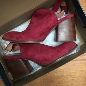 Geewawa Horky red suede heeled ankle boot, in box